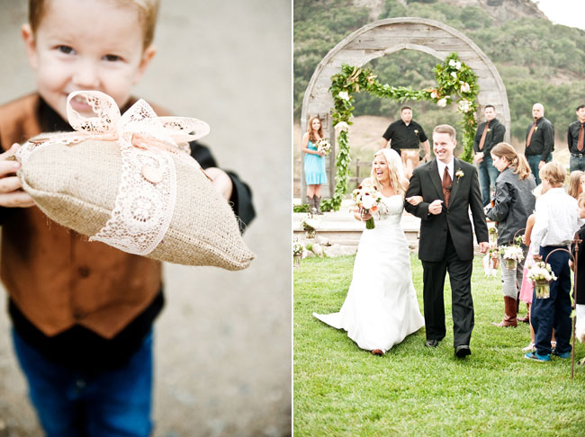 ring bearer holding pillow (left). Couple walk down aisle in recessional (right)