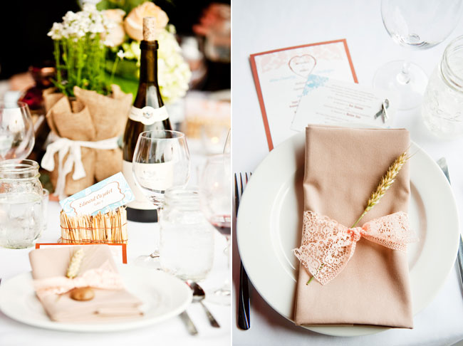 table setting with napkin wrapped with peach ribbon and straw