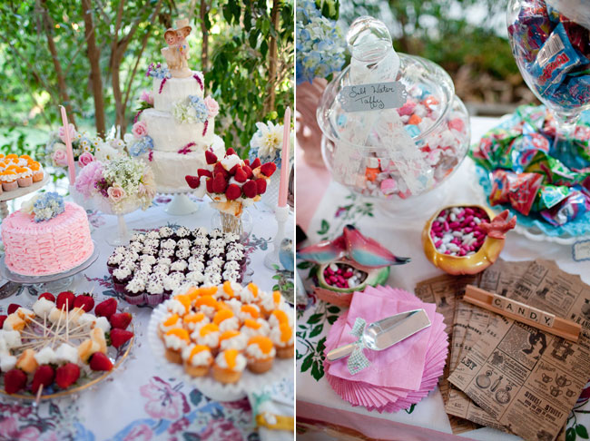 colorful wedding cupcakes and cake table