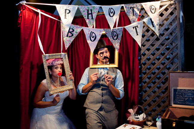 Bride and groom in DIY vintage photo booth