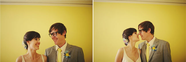 bride in simple dress and groom in yellow tie with gray jacket