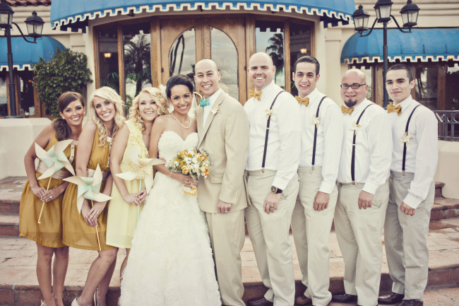Bridal party in front of Val Vista Lakes building
