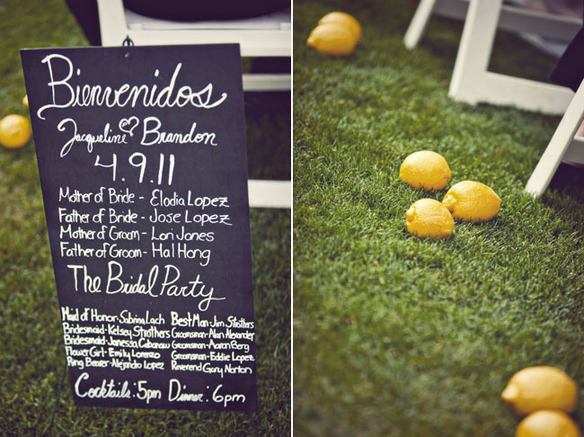 chalkboard wedding ceremony program with real lemons on grass