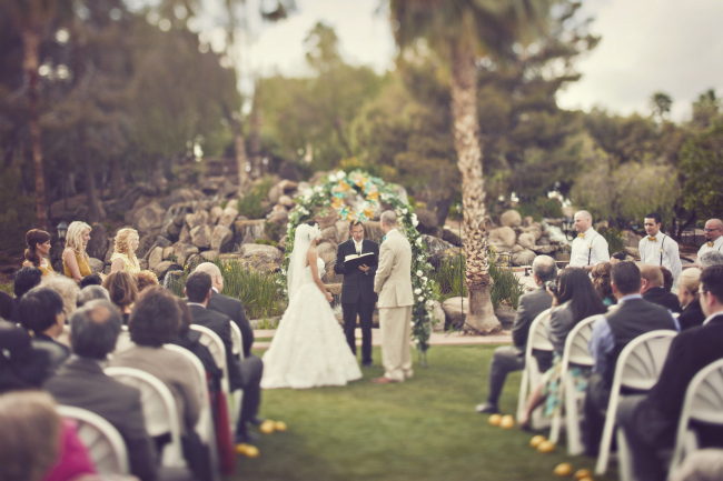 Wedding ceremony at Val Vista Lakes