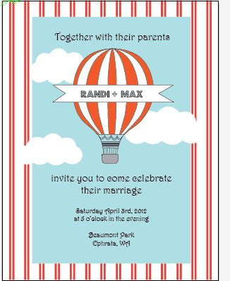 Hot Air Balloon Invitation RSVP Wedding Suite Free Printable