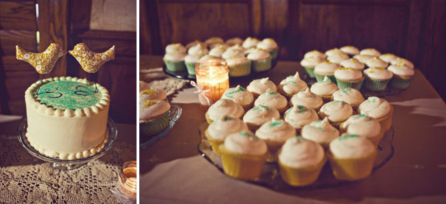 lovebird cake topper and plates of frosted cupcakes