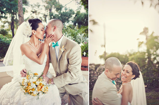 Bride and groom laugh and kiss seated at Val Vista Lakes