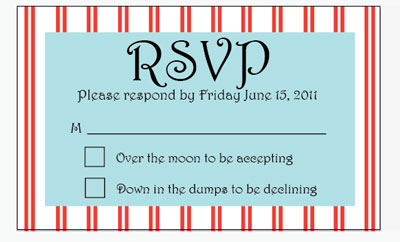 matching red striped RSVP card for hot air balloon wedding stationery