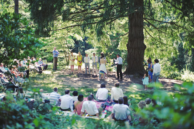 Hoyt Arboretum wedding ceremony in the forest