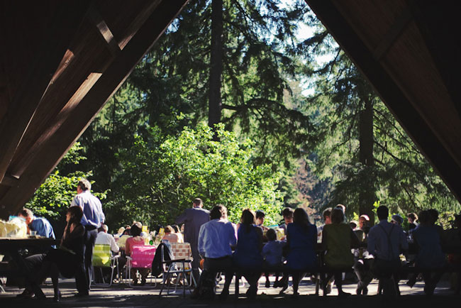 wedding reception in forest at Hoyt Arboretum