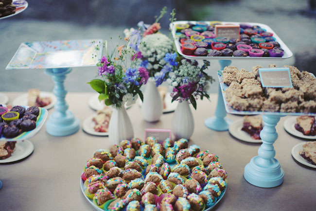 Dessert table with colorful sprinkle sweets
