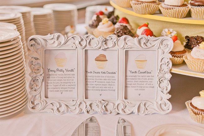 Dessert cupcake menu in white ornate frame for wedding reception