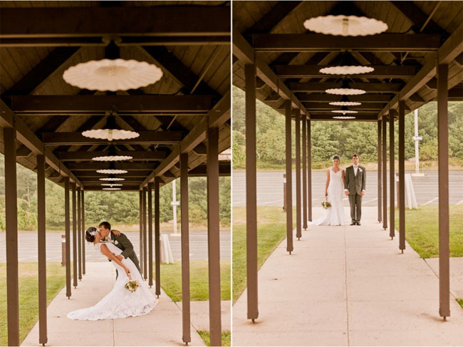 Bride and groom kissing under covered walk way. Bride wearing birdcage veils. (left photos) bride and groom holding hands in front of lake under covered walk way. (right photo)