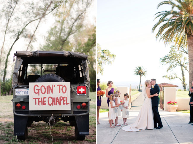"land rover with sign on back ""goin to the chapel"" (left), bride and groom kiss at wedding at Ceago Vinegarden (right)"