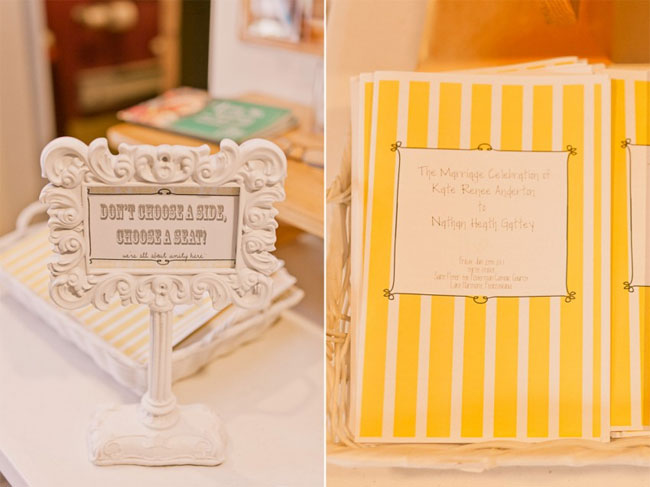 "Small wedding ceremony sign saying ""don't choose a side, choose a seat!"" in an ornate white frame (left photo); yellow and white striped ceremony programs"
