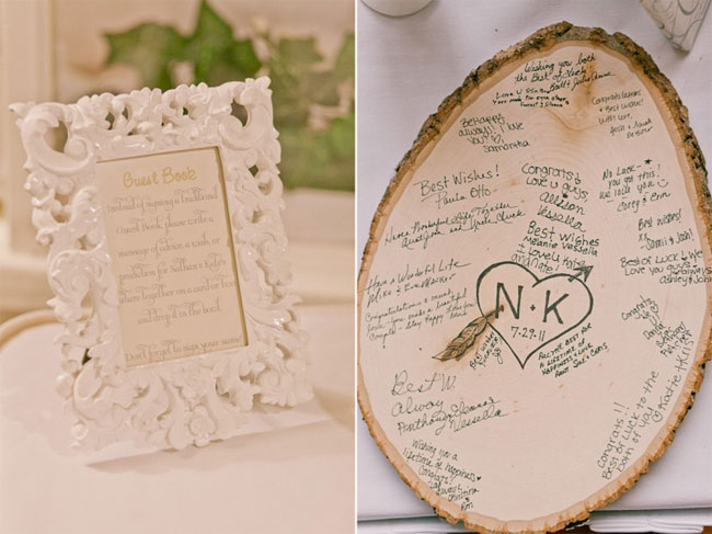 Wedding guest book sign in a white ornate frame (left photo); wood slab guest book with signatures (right photo)