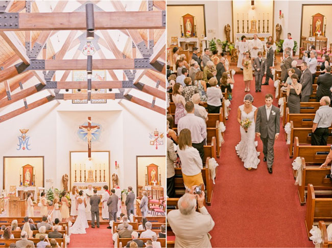 Bride and groom at alter in church during wedding ceremony (left photo); bride and groom walking back down aisle holding hands in church. Bride wearing birdcage veil (right photo)