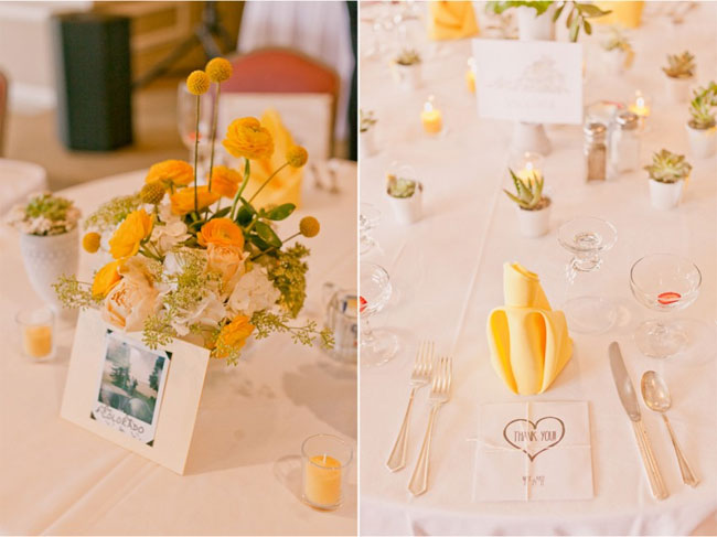 white and yellow flowers with billy balls in centerpiece at wedding reception (left photo); place setting at white table cloth with yellow folded napkin and succulent plants in small white vases