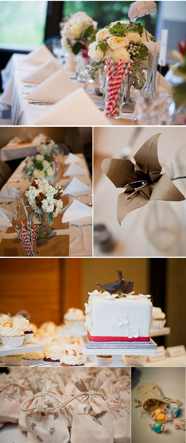 Origami Themed Wedding: table setting, wedding cake with two crows as cake topper, candy treat bags