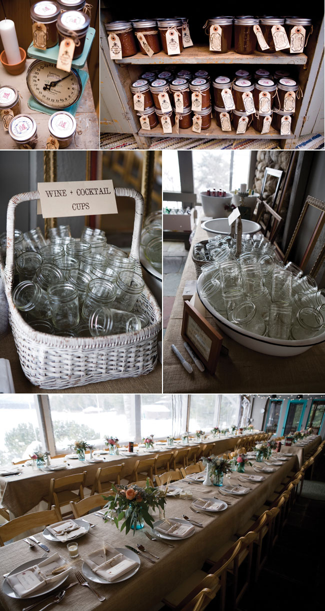 Winter wedding favors, mason jars, and wedding reception long table