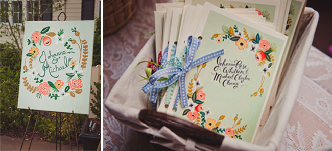 Sign on easel to announce Johanna & Michael's backyard wedding (left). Cutom designed cards in a wicker basket for backyard wedding (right)
