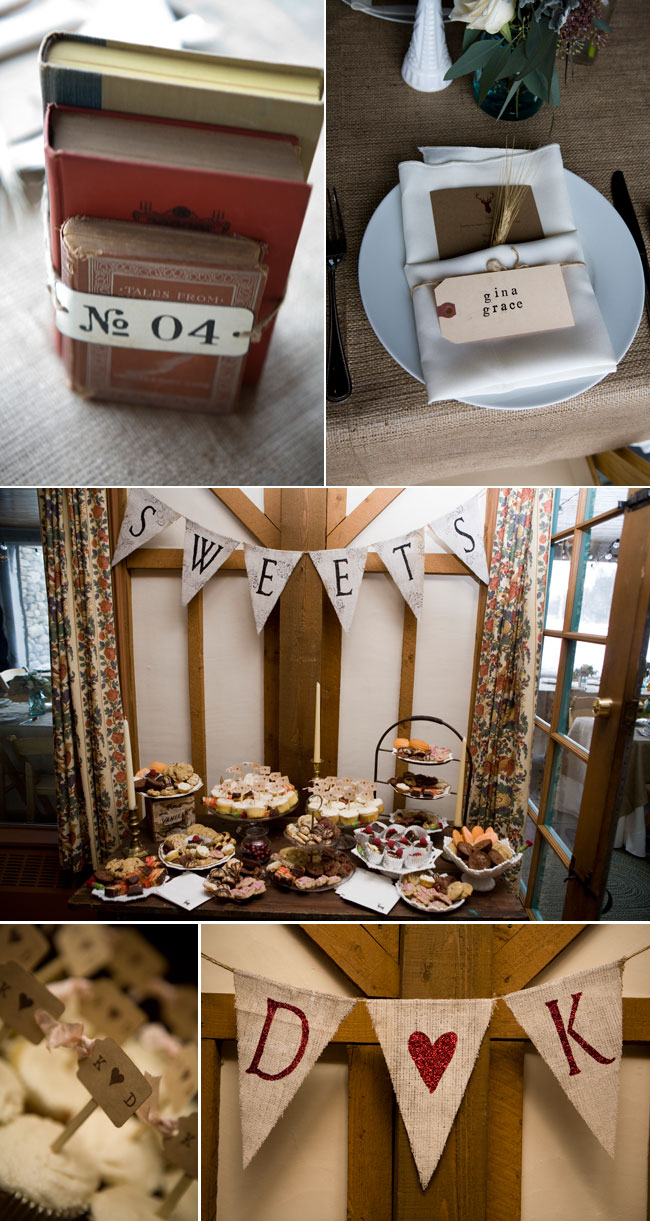"winter wedding dessert table with bunting banner that says ""Sweets"", cupcakes with bride and grooms initials on mini stick sign"