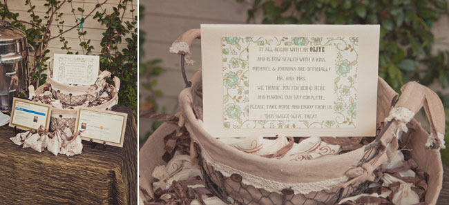 Wedding favor olives in a basket with thank you sign (Left photo);  Wedding favor olives in a basket with thank you sign