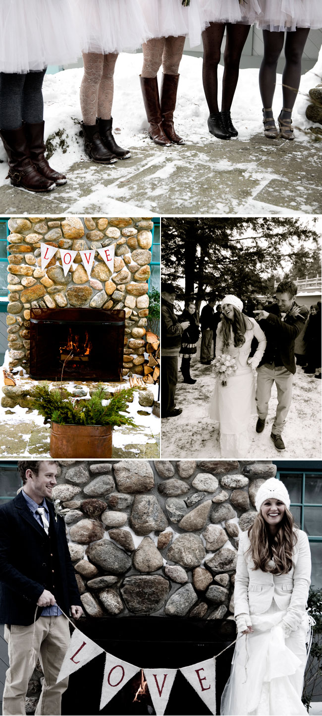 winter wedding in New Hapshire with outdoor fireplace, bride and groom hold bunting LOVE sign
