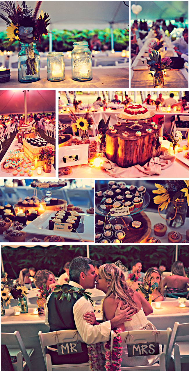 Whimsical Hawaiian Wedding dessert table