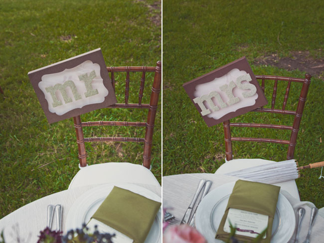 "Groom's Bronze Chiavari wedding reception chair with mint green, brown and white ""MR"" sign attached to chair (left photo); Bride's matching chair with ""MRS"" sign attached (right photo);"