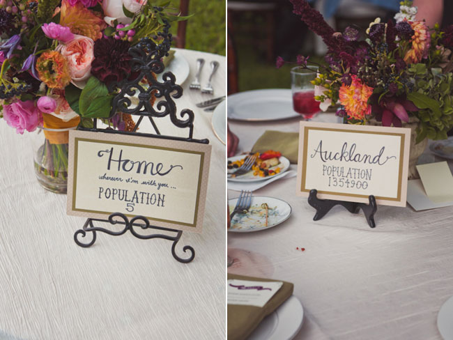 """Home"" city name with population for a table number in the center of wedding reception table with maroon, pink, orange flowers behind in clear vase  (left photo); Backyard wedding with table number cities sign that says ""Auckland"" with population for a table number in the center of wedding reception table with maroon, pink, orange flowers behind in clear vase"