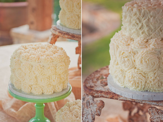 1-tier Ivory Wedding cake with flower rosettes on a green cake stand (left photo); 2-tier ivory wedding cake with flower rosettes (right photo)