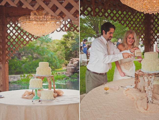 Three Ivory wedding cakes with flower rosettes: one on a green cake stand, one on a plate and one on a taller cake stand. All on a table with a white table cloth under a chandelier  (left photo); Bride and groom cutting 2 tier ivory wedding cake with flower rosettes (right photo)