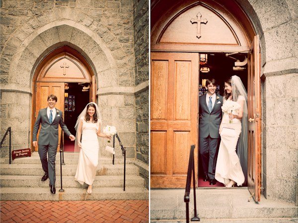 Bride and groom walking down stairs leaving church bride wearing veil and groom wearing grey suit with blue tie (left photo); Bride and groom walking out of church door.  bride carrying white bouquet and wearing floor length veil, groom wearing grey suit and blue tie (right photo)