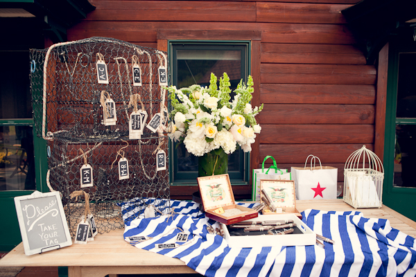 Wedding reception place card holding made from crab trap with chalkboard sign and a white and blue table cloth.