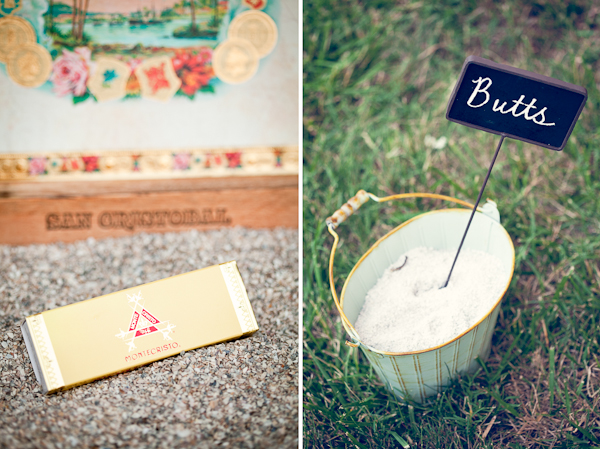 "Gold box of matches as wedding favors (left photo); a bucket full of sand for cigar butts at wedding and a chalkboard sign saying ""butts"" sticking out of bucket (right photo)"