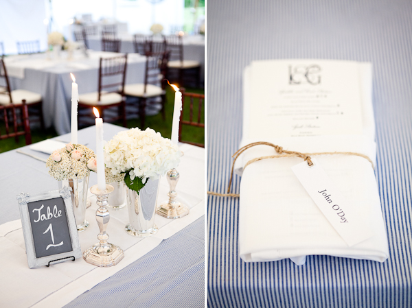 Elegant table centerpiece with silver candle stick and vases with white hydrangeas and a silver frame chalkboard sign with table number (Left photo); white folded napkin with menu secured with twine and wedding guests name on blue and white stripped table cloth