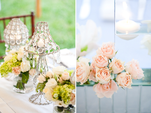 Crystal candle mini lamp shade with green and white flower centerpieces (left photo);  Pink roses (right photo)
