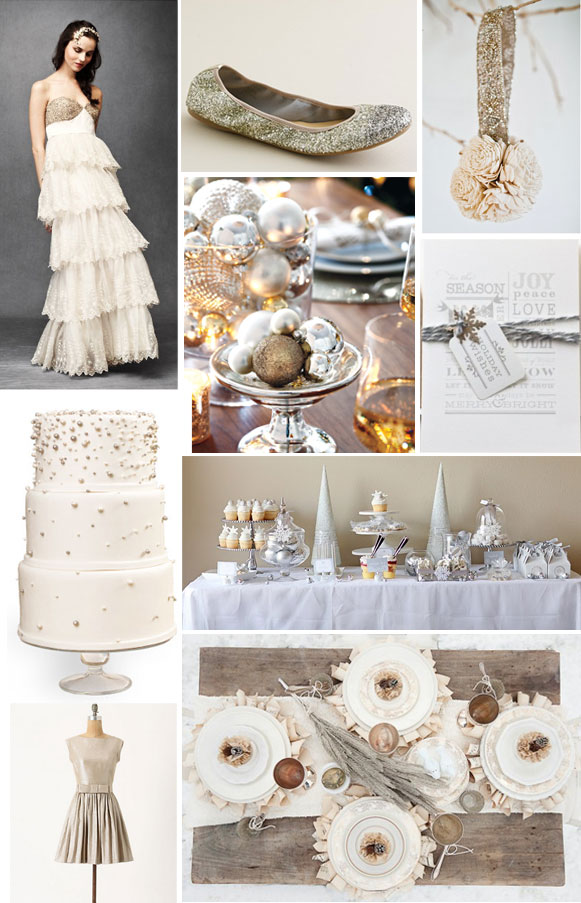 winter wonderland inspiration photo collage: dress, sparkly shoes, silver balls, wedding cake and more