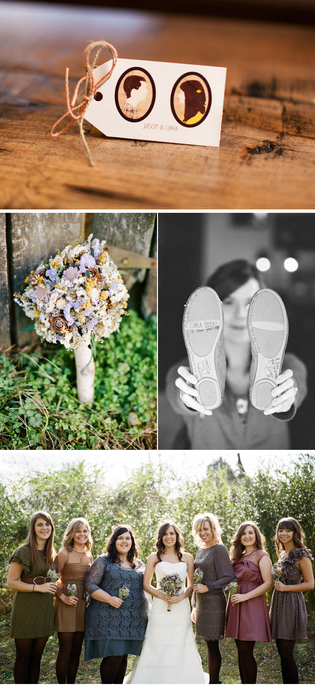 Rustic Wedding with DIY touches: nametag, bouquet, bridesmaids