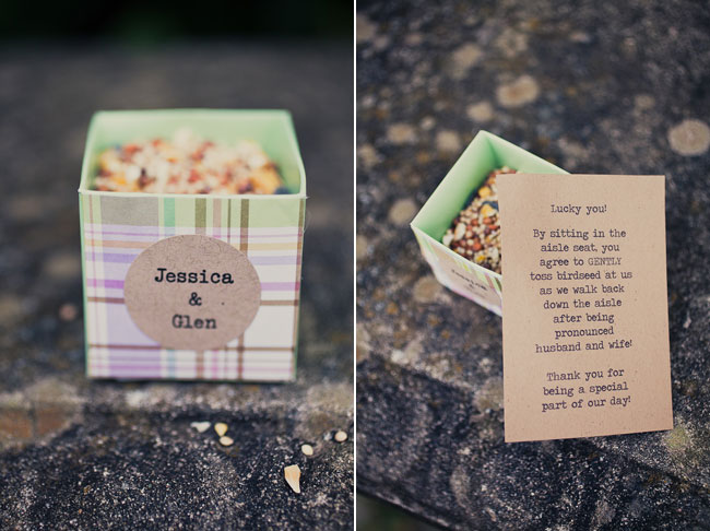 colorful box with birdseed to toss at bride and groom