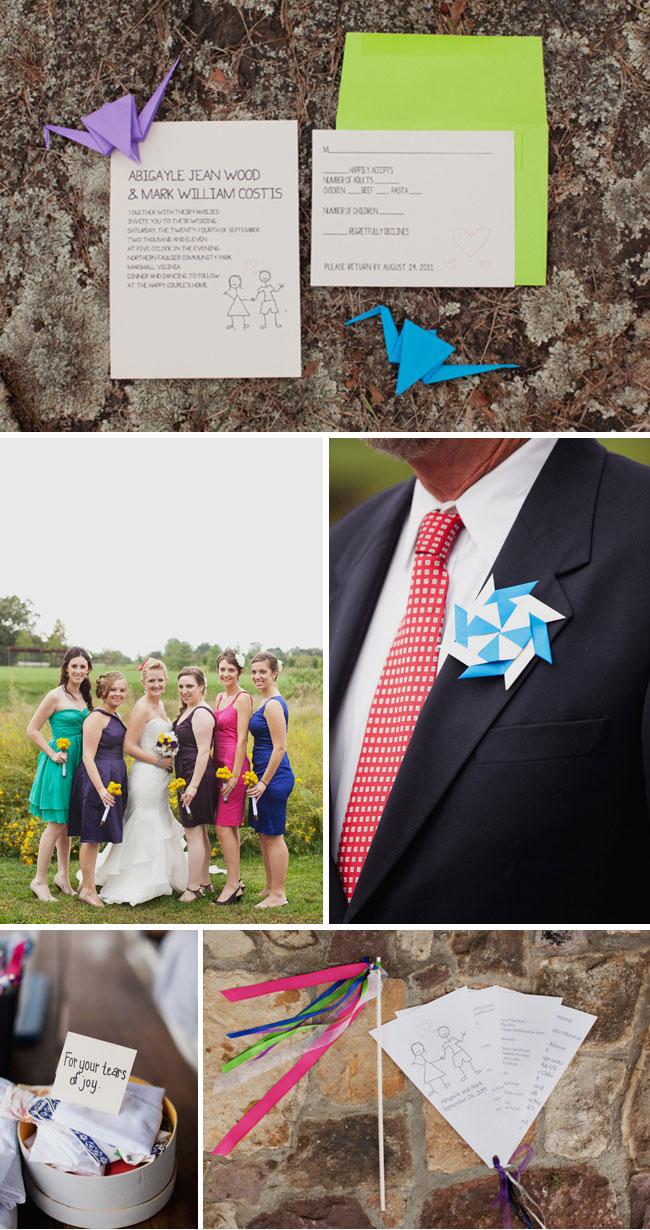 Origami Paper Crane Wedding - Invitations and Bridal Party
