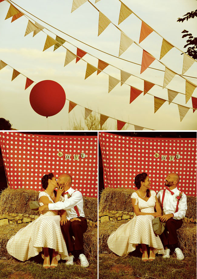 Red and White 1950's Theme Wedding - bride and groom kiss