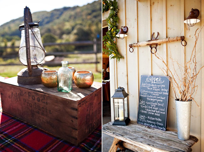 Country wedding - oil lamp on old wood box