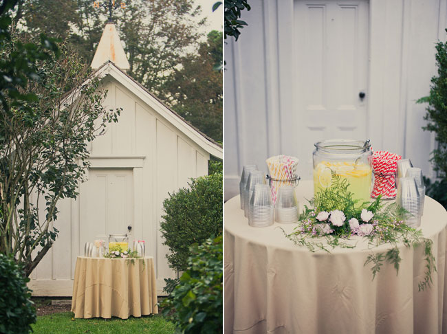Mount Hope Farm shed with lemonade on table in front for wedding