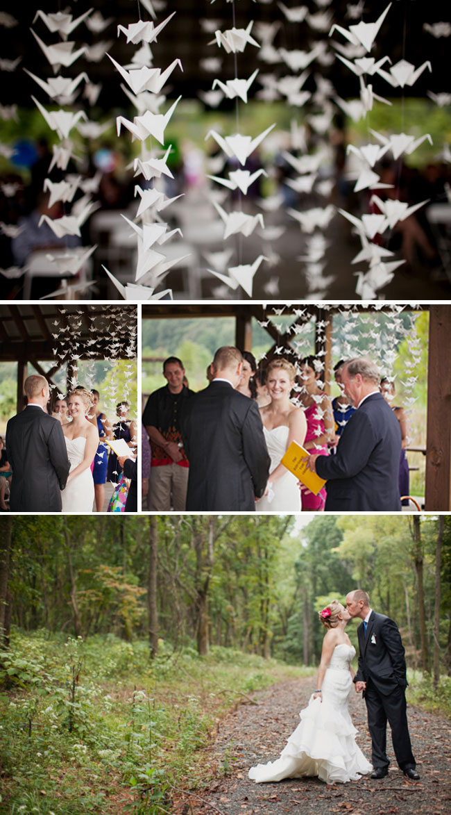 Origami Paper Crane Wedding Ceremony and Backdrop