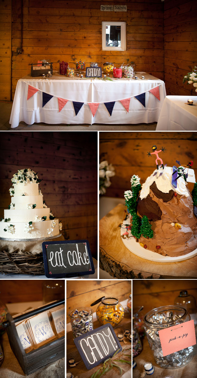 candy stations; tiered wedding cake