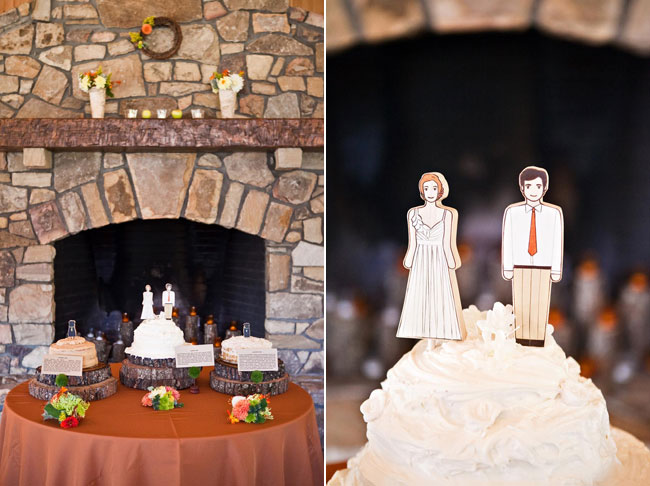 wedding cake topper with cardboard cut-out resemblance of bride and groom