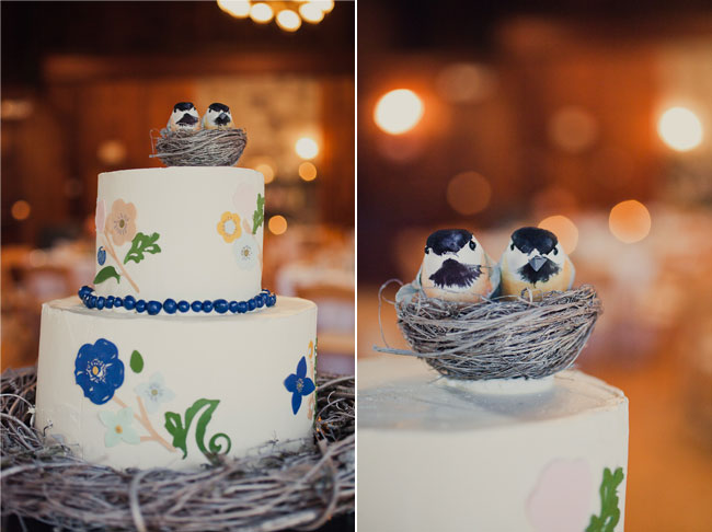 Rhode Island Farm wedding cake with cake topper of two birds in a nest