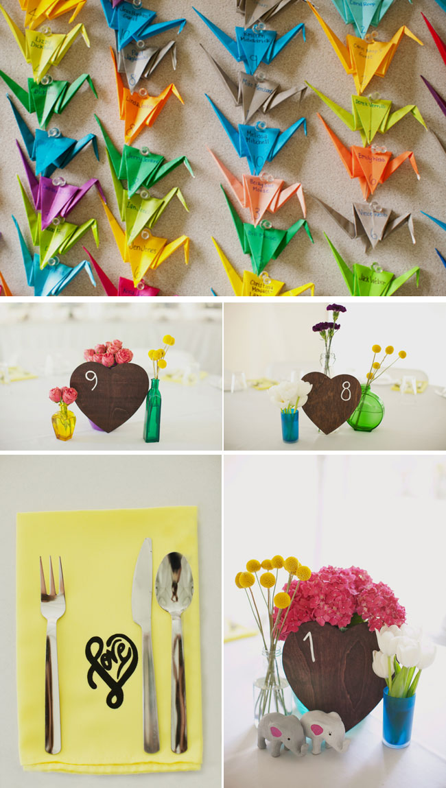 Colorful Origami Paper Crane Wedding Seating Chart